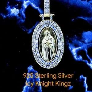Solid 925 Gold Finish Virgin Mary Pendant